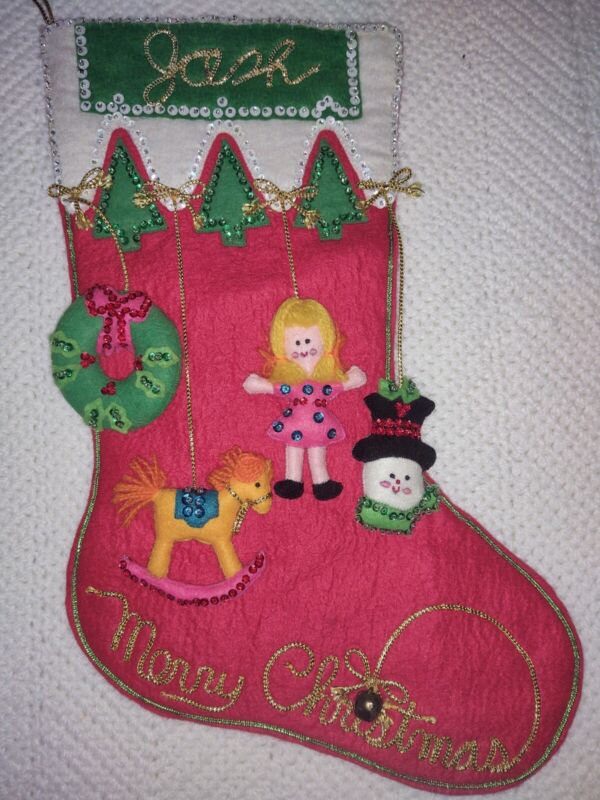 VINTAGE BUCILLA CHRISTMAS STOCKING COMPLETED