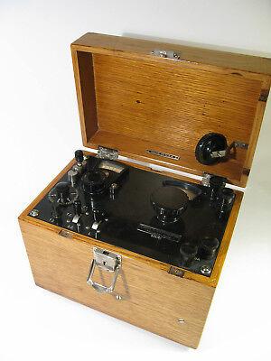 Antique Leeds Northrup Multiple Range Potentiometer Indicator Solid Oak Box