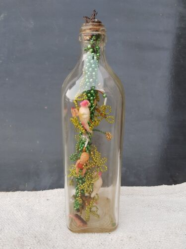 1930s Vintage Christmas Decorative Magic Glass Bottle With Celluloid Toys Inside