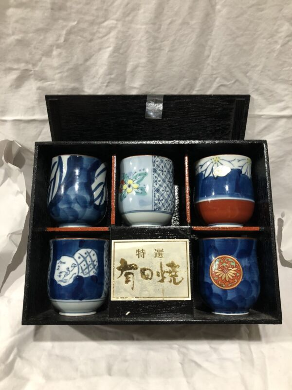 """Vintage Arita Porcelain Ceramic Tea Cup Set Of (5) 3"""" Tall In Wooden Box Signed"""