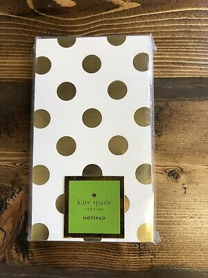 Kate Spade New York Gold Polka Dots 125 Lined Sheets Small 3 X 5 Notepad Nip