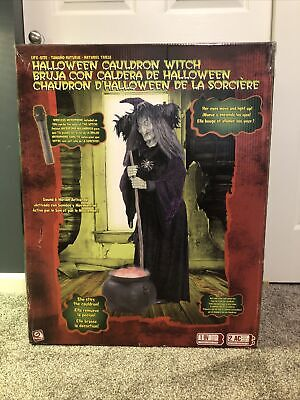 Rare Halloween Cauldron Witch Gemmy Lifesize With Microphone NEW IN BOX