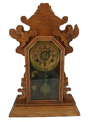 Antique Waterbury Kitchen Parlor Mantel Clock Gingerbread Ornate Oak Wood w/ Key