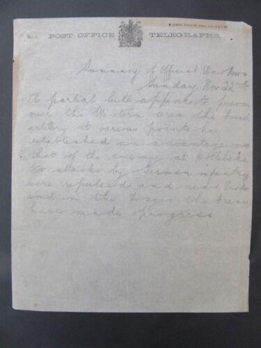 1914 WW1 Telegraph Bulletin Fighting In France Verdun Vosges f1-10