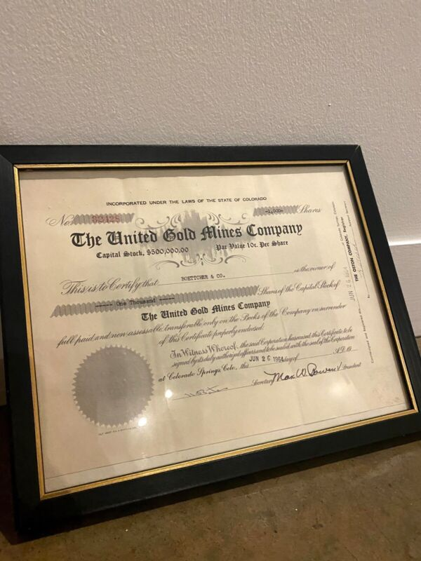 The United Gold Mines Company Paper Stock Certificate