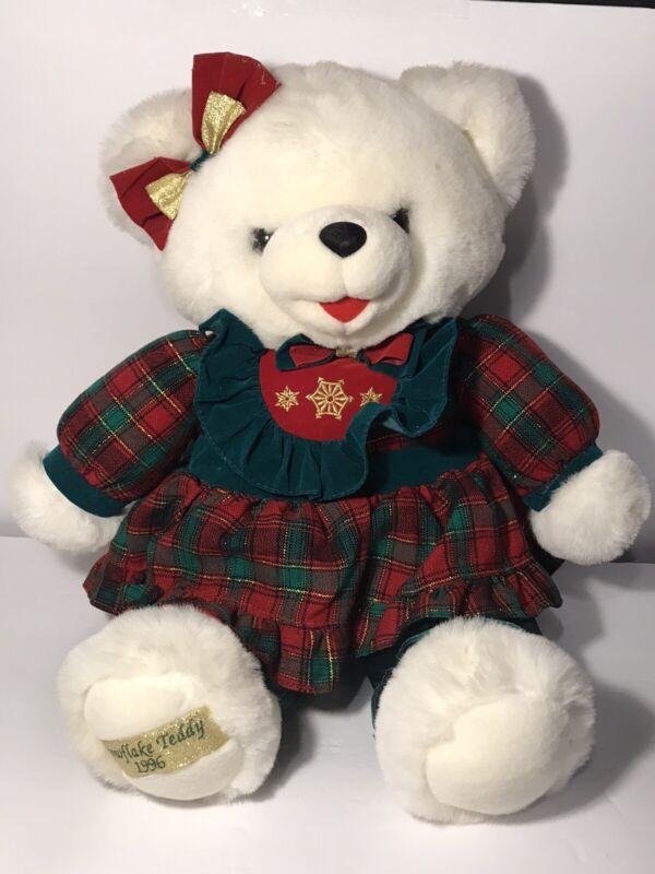 "Christmas Snowflake Teddy Bear 1996 Plush 21"" Anniversary Birthday Gift"