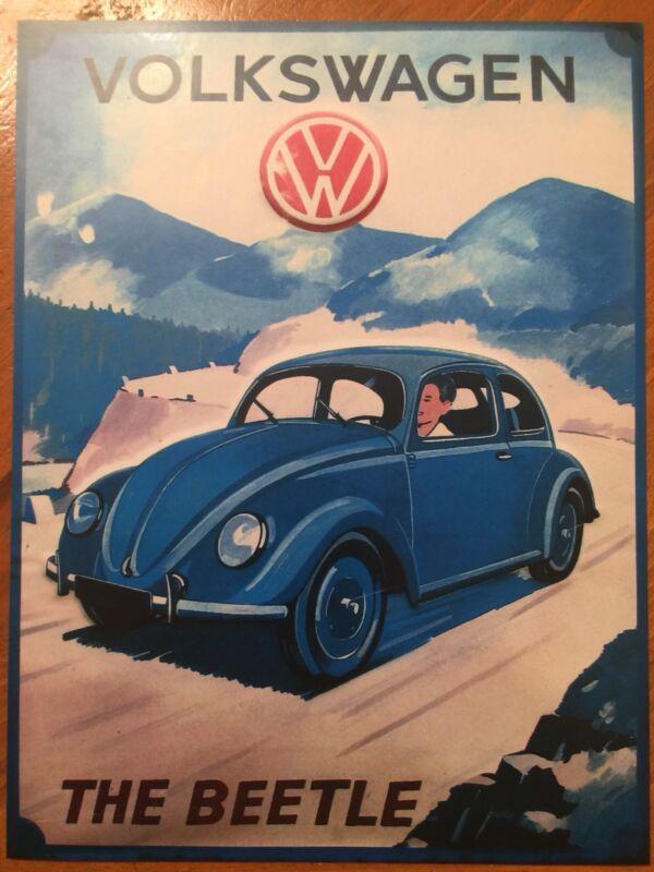 Tin Sign Vintage Volkswagen The Beetle VW