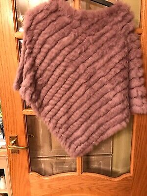 JAYLEY Collection Real Fur Lilac Poncho One Size