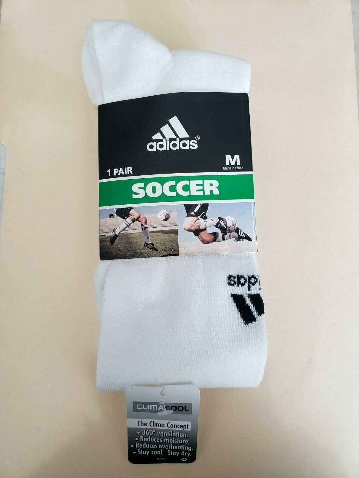 Adidas Soccer Socks, Size M 992425 size 5-8.5 Crew Ships in