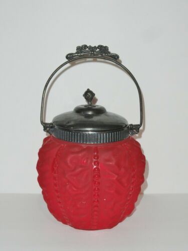 Consolidated Glass Ruby Beaded Drape Biscuit / Cracker Jar