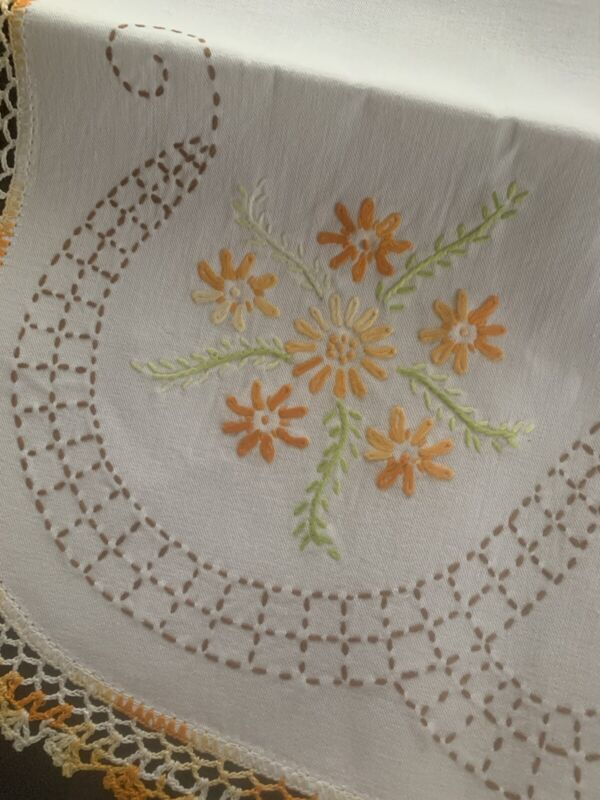 New Unused Vintage Table Runner/Topper Embroidered With Crochet Edge Oval Linen