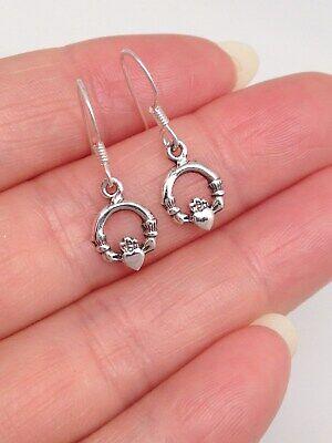 925 Sterling Silver Celtic Claddagh Earrings Hook Dangle Love Heart -
