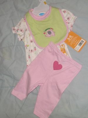 NEW BON BEBE OUTFIT INFANT GIRLS 3-6 MONTHS -  ELEPHANTS    :>]