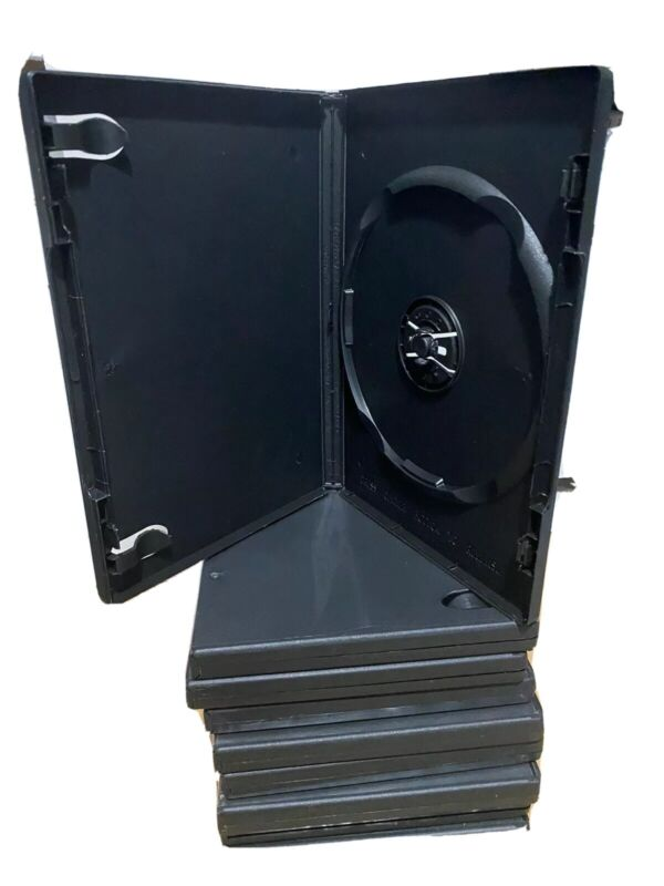 10 New DVD/Media Cases, Black, 14mm Single Disc, w/Art Clips, free shipping