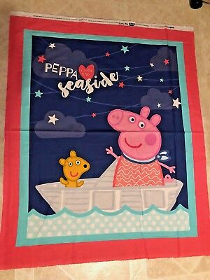 Peppa Pig Seaside 100% cotton fabric sold by the Panel apprx 36 x 44 Peppa Pig