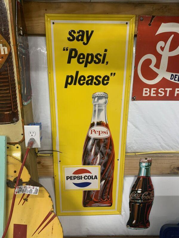 "Vintage 1965 Pepsi-Cola Vertical MINTY Metal Bottle Sign GAS OIL SODA 46"" X 17"""