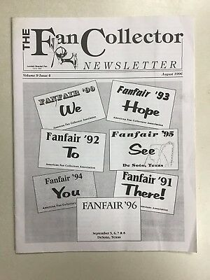 The FAN COLLECTOR NEWSLETTER Magazine August 1996  ~ Antique Fans  for sale  Shipping to Canada