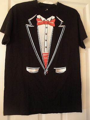 SHOP4EVER~ BLACK TUXEDO T-SHIRT~MEN'S MEDIUM~RED (Black Tie Tuxedo Kostüme)