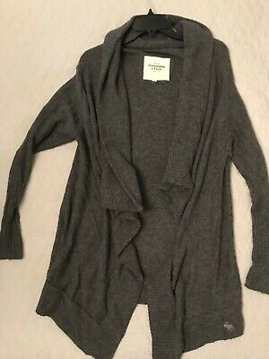 Abercrombie cardigan S Sweater gray Open Draped Front Wool Blend Charcoal Grey