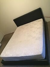 Queen sized black leather bedframe & bamboo mattress Mermaid Waters Gold Coast City Preview