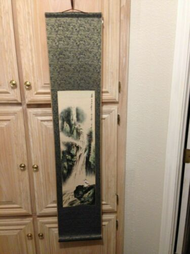 Vintage Chinese Hanging Scroll Hand Painted Signed Stamped/Waterfall/Trees/Man
