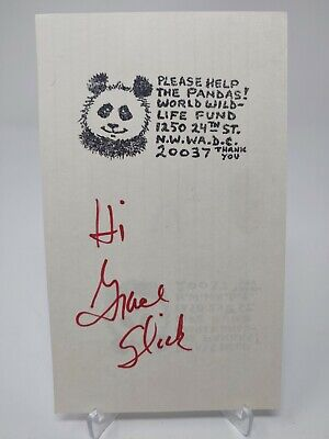 Grace Slick Signed 3.5x6 Index Card JSA COA
