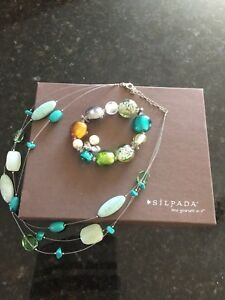 Silpada Turquiose/Glass Bead Necklace and Bracelet Set