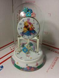 DISNEY ANNIVERSARY DESK CLOCK Winnie the Pooh GLASS DOME Eeyore Piglet Tigger