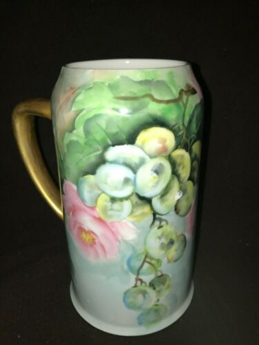 """Antique Hand Painted Porcelain Tankard Stein Mug 7"""" Roses & Grapes Signed 1909"""