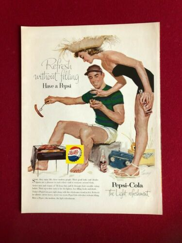 1956, PEPSI:COLA, Original Magazine Display Ad (Scarce / Vintage)