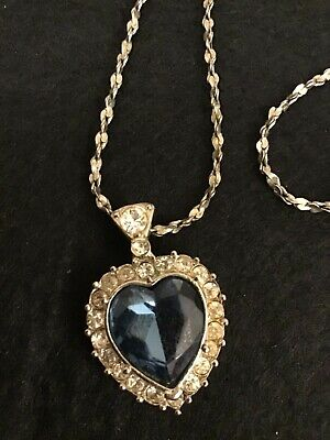 Avon blue crystal and diamanté heart pendant necklace. 3cm heart on 45cm chain  for sale  Shipping to South Africa