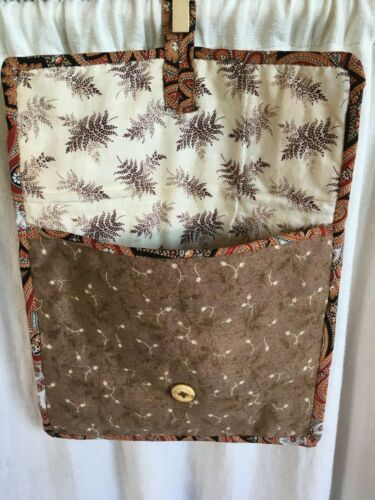 Antique Sewing Bag Early Calico Fabrics Browns Madder Fern