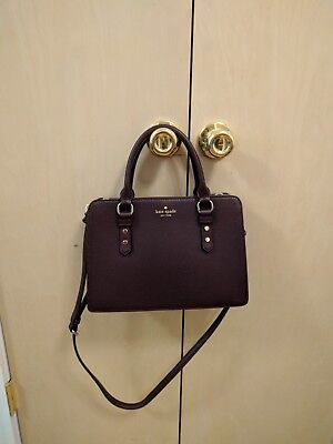 Authentic Kate Spade Mulberry Street Lise Mahogany Leather Satchel Handbag