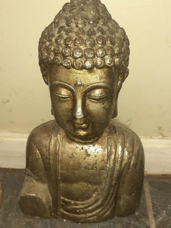 """Vintage 16"""" Bronze Buddha Bust Statue"""