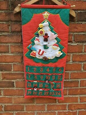 Vintage Fabric Advent Calendar POCKETS OF LEARNING Christmas Countdown Tree