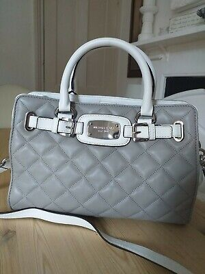 GENUINE MICHAEL KORS QUILTED HANDBAG, GREY & WHITE
