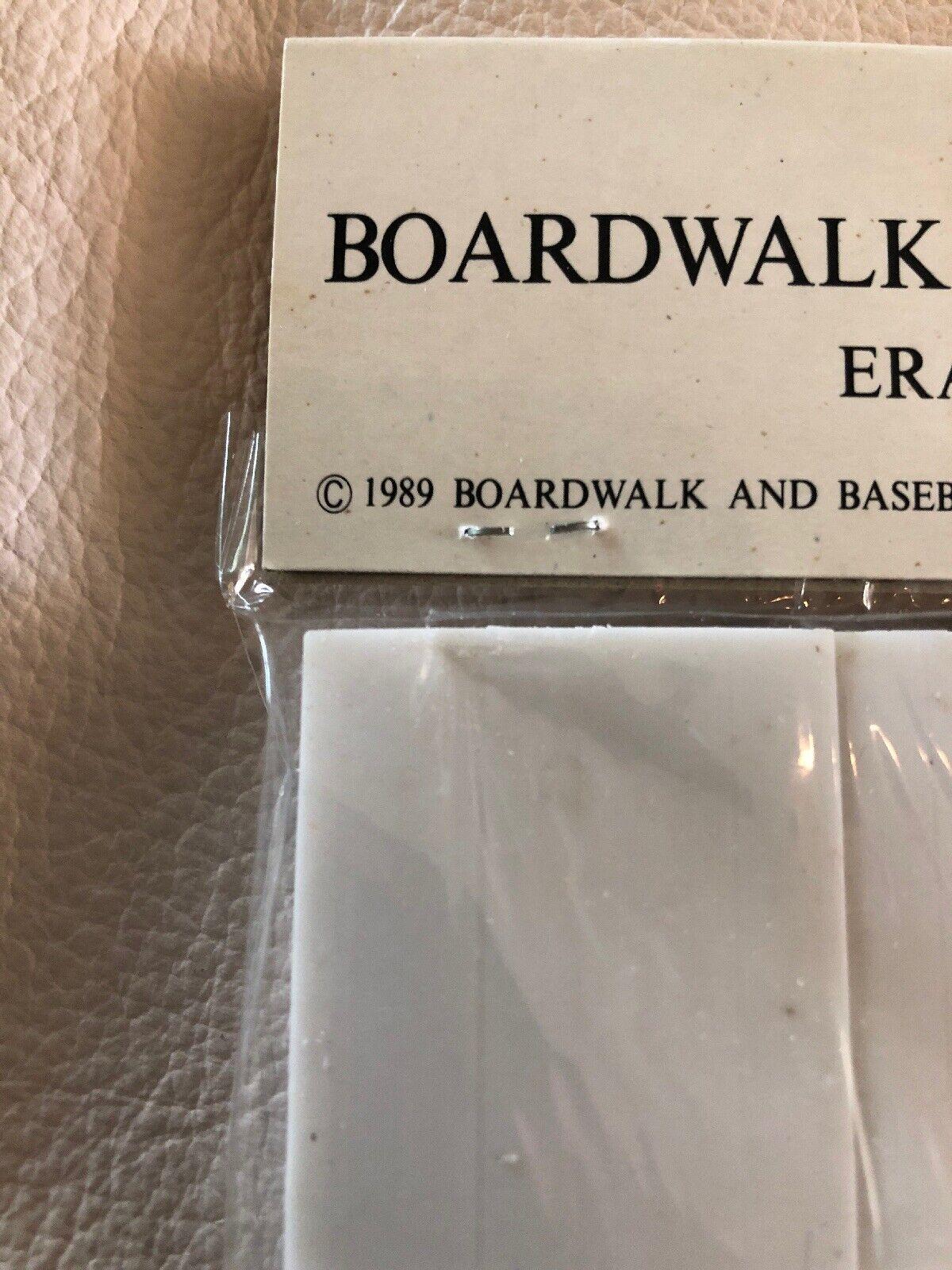 Vintage 1989 new boardwalk and baseball theme park 3 pc. eraser set sealed nos