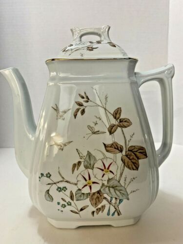 Alfred Meakin Teapot, Royal Ironstone, England Floral & Birds Morning Glory