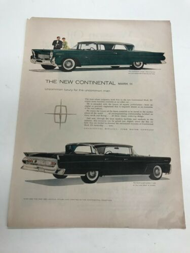 Continental Mark III Lincoln Ford Car Vintage advertisement Ad