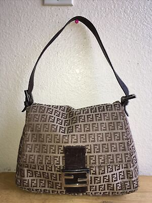 FENDI Zucca Pattern Mamma Bucket Hand Bag Brown Canvas Made In Italy Pre-Owned