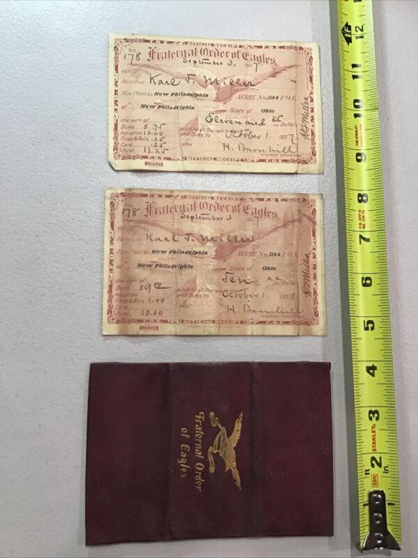 1907-1908 Fraternal Order of Eagles Membership Receipt Card Pair & Holder