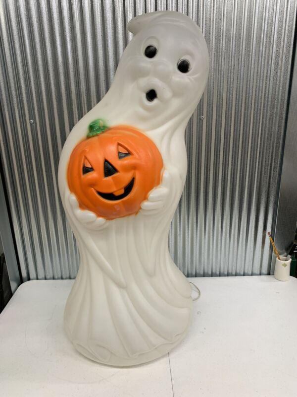"""Vintage General Foam Plastics Corp. 34"""" Blow Mold Lighted Ghost With Pumpkin"""