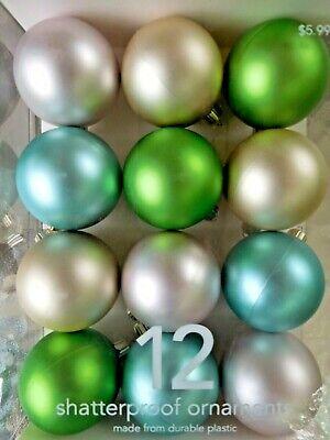 12 Martha Stewart Shatterproof Pastel Ornaments Green. Blue, Pink New in Box!