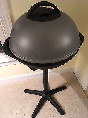 George Foreman GGR50 Indoor Outdoor Electric Grill Nonstick Coating On Stand