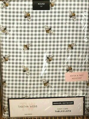 """Tabitha Webb 70"""" Round Gray Gingham BEE Indoor Outdoor Tablecloth Easy Care"""