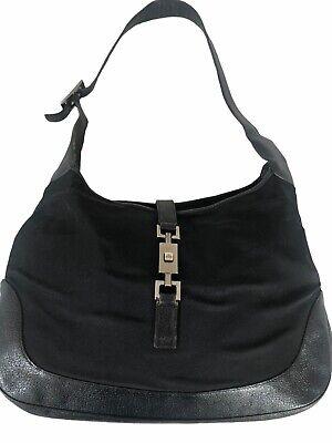 Gucci Vintage Jackie Black Canvas & Leather Shoulder Bag
