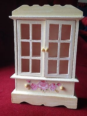 Doll House Miniature Wood Furniture--Cupboard Cabinet--Decoupaged with flowers
