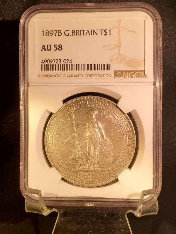 Great Britain Silver Trade Dollar 1897-B - NGC AU 58