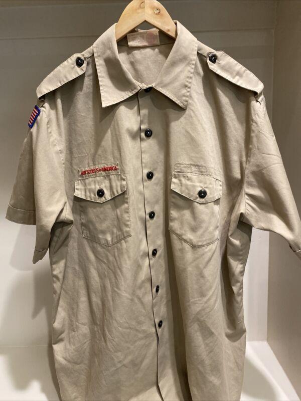 Boy Scout BSA UNIFORM SHIRT Tan Mens Extra Large XL Short Sleeve G8