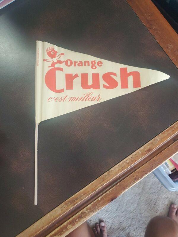 "Rare 1920s French English Orange Crush Soda Paper Advertg. Flag Pennant ""Crushy"""